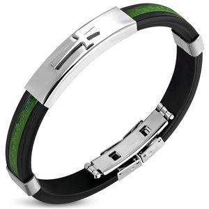 Jewelry - Green Greek Key Stripe Black Rubber Butterfly